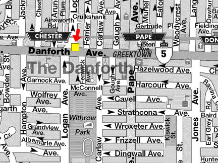 map of the Chester/Pape area on the Danforth